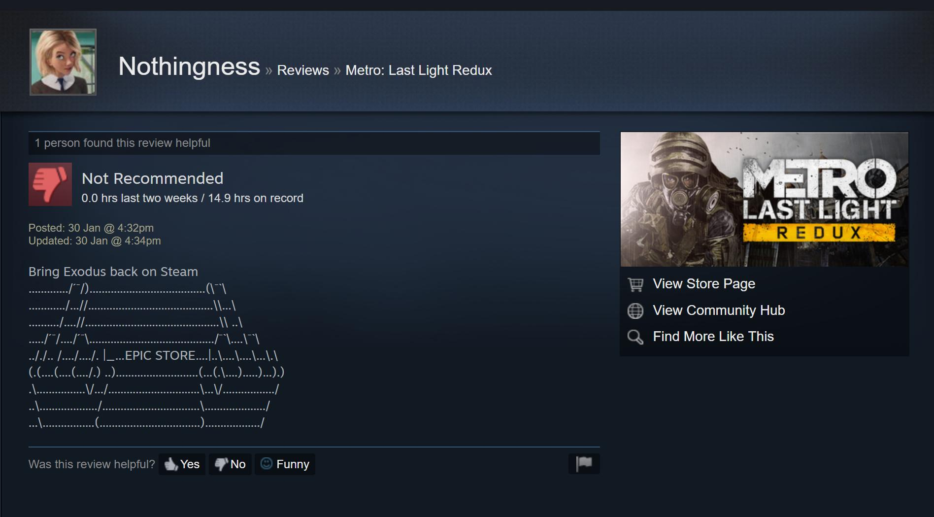 Metro Games Steam Review Bombing