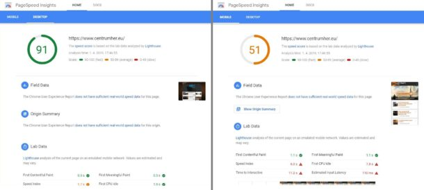 CentrumHer Google Pagespeed Insight Improve