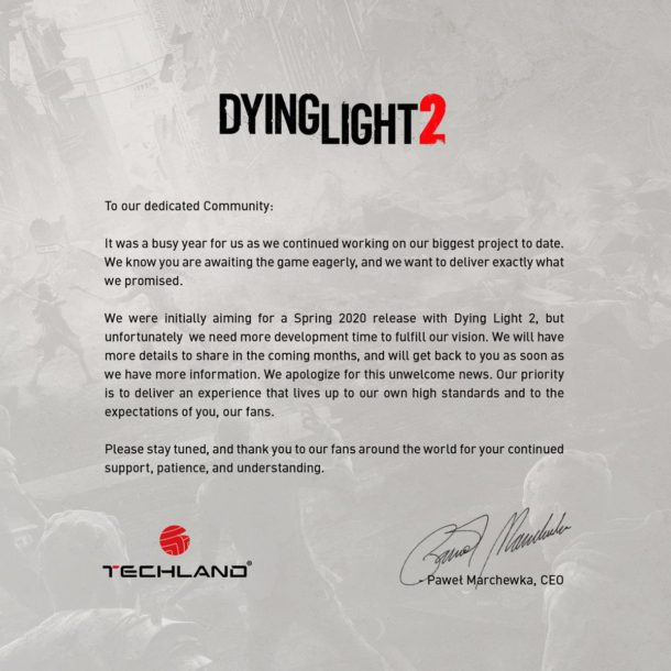 Dying Light 2 odložený