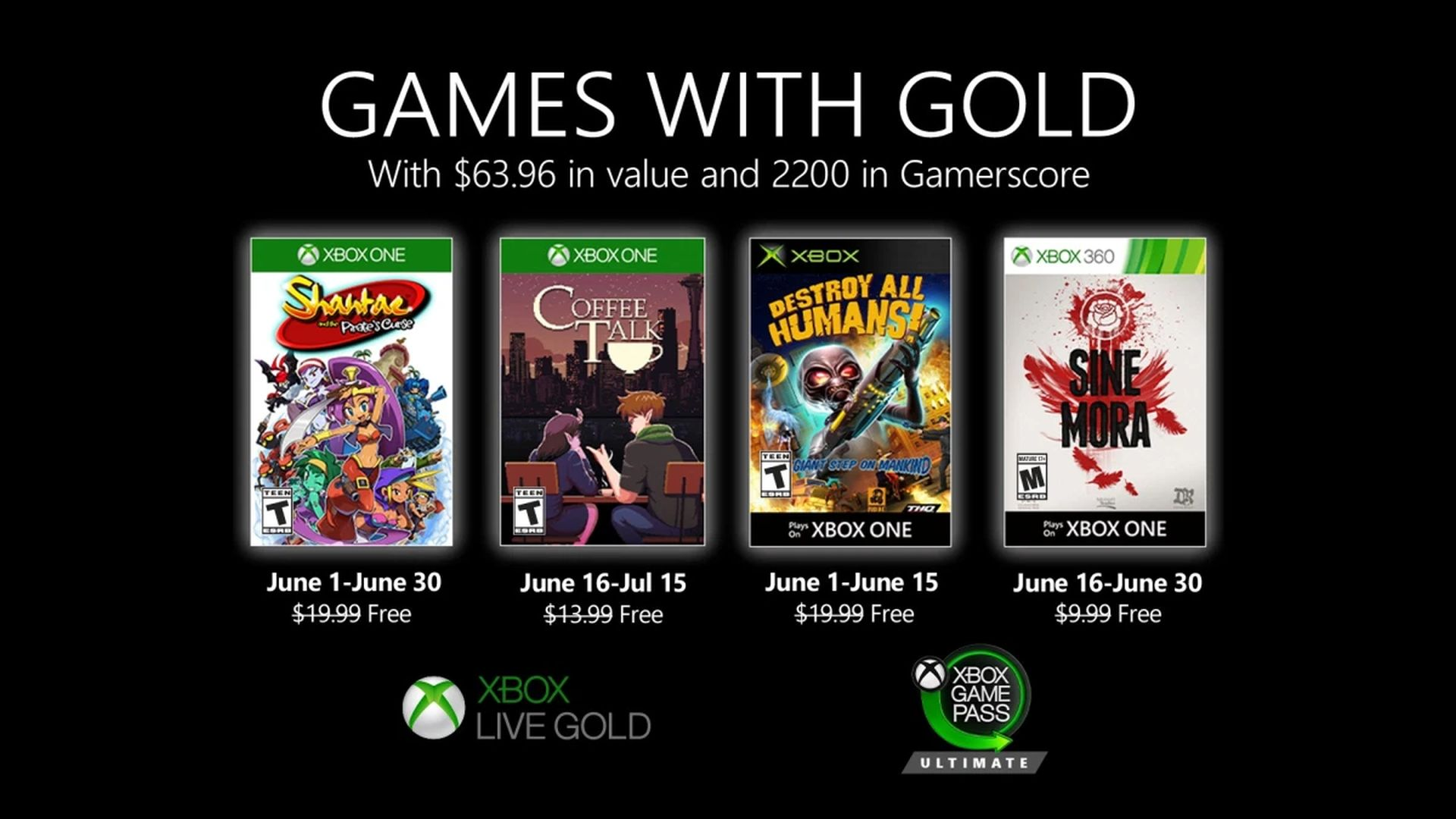 Microsoft Games with Gold June 2020