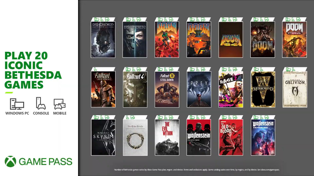 Xbox Game Pass Bethesda Games